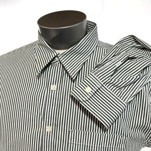 Old Navy Green & White Stripe Button Front Shirt